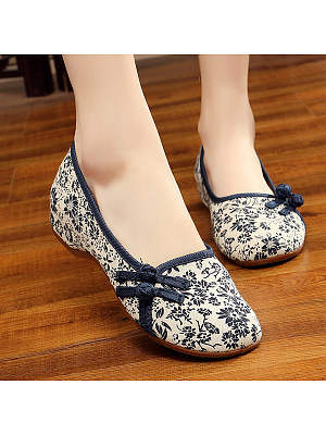 SOCOFY Floral Low Heeled Blend Round Toe Casual Flat & Loafers фото