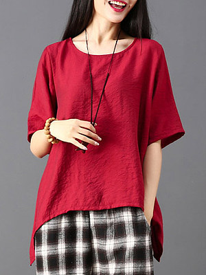 Round Neck Asymmetric Hem Loose Fitting Plain Short Sleeve T-Shirts