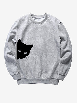 Crew Neck  Animal Prints Sweatshirt