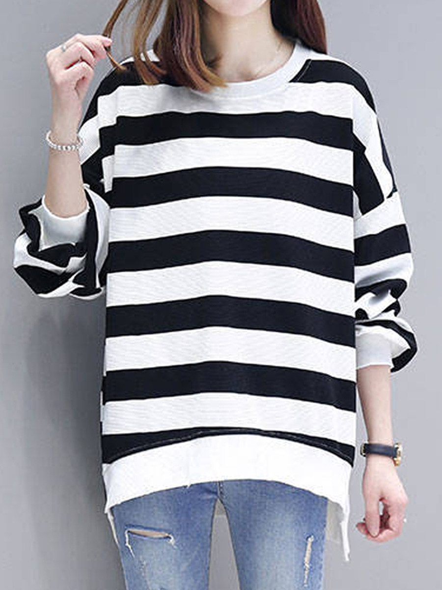 Casual  Contrast Piping  Colouring  Shoulder Sleeve  Long Sleeve  Sweatshirt