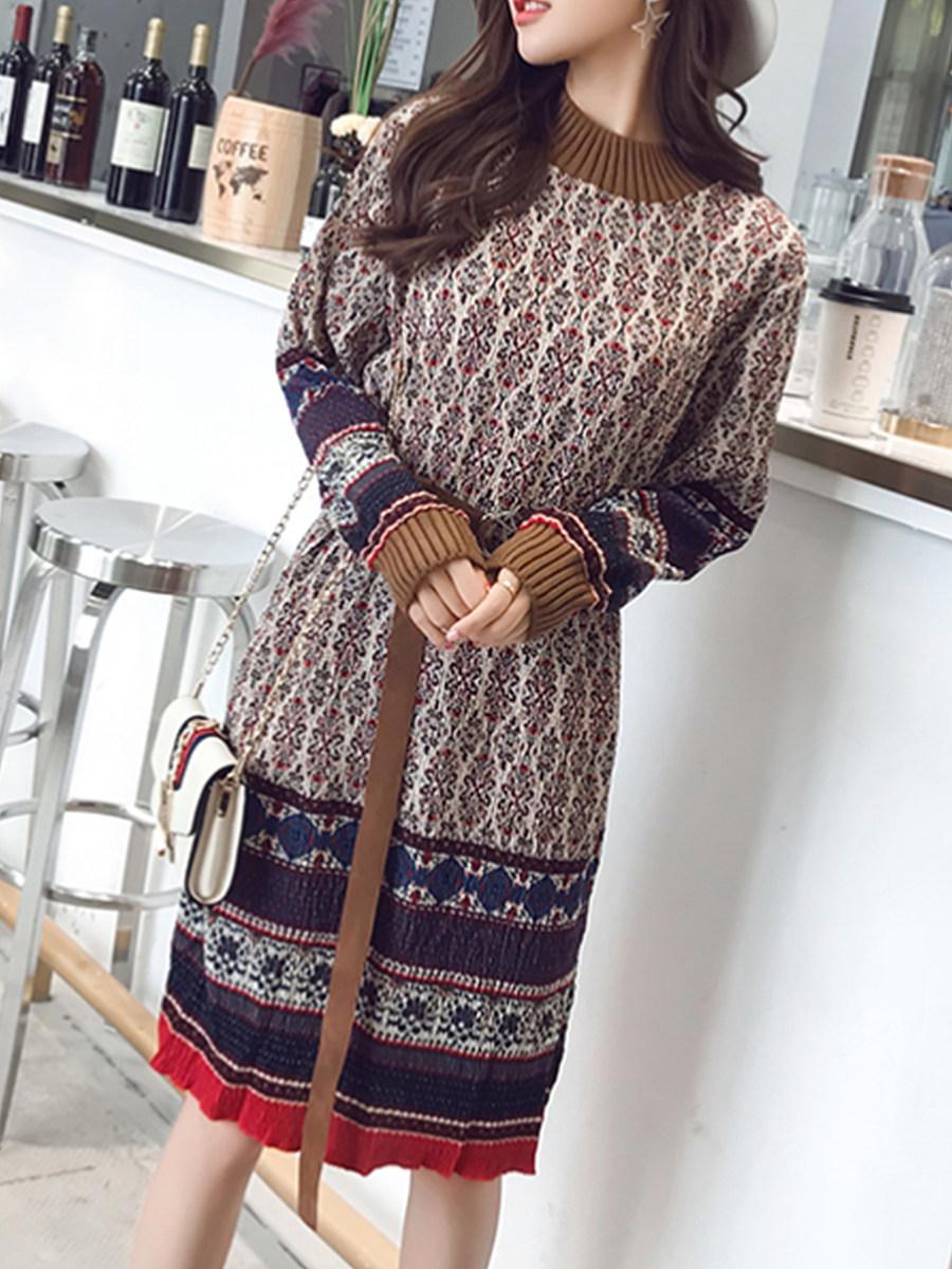Patchwork  Belt Rib Knit Cuffs  Floral Printed Shift Dresses