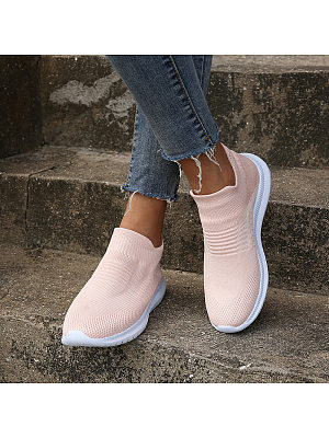 Plain Flat Round Toe Casual Travel Sneakers, 8734608