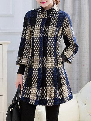High Neck  Slit Pocket  Checkered Coats