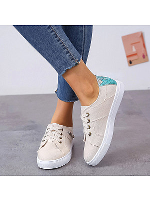 Color Block Flat Round Toe Casual Travel Sneakers, 7294203
