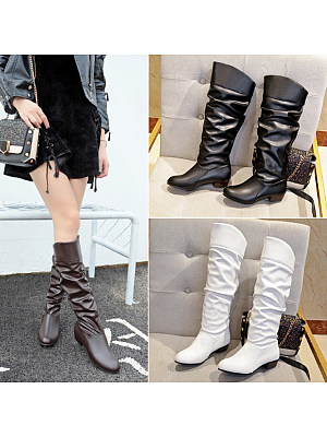 Plain Chunky Low Heeled Round Toe Casual Outdoor Mid Calf Flat Boots, 5326873