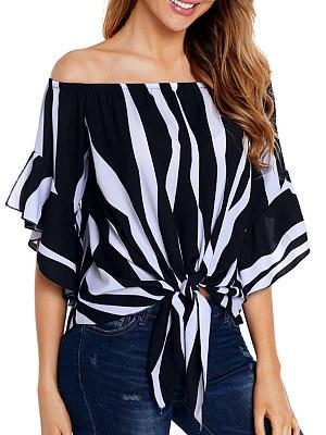 Open Shoulder  Lace Up  Striped Blouses