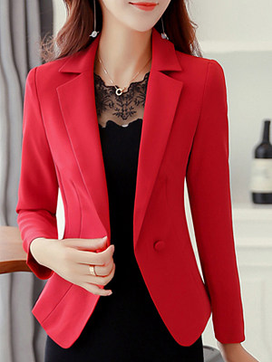Double Breasted Decorative Button Plain Long Sleeve Blazers фото