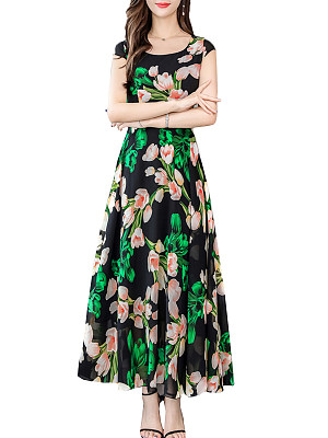 Round Neck Floral Printed Maxi Dress фото