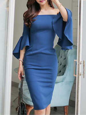 Open Shoulder Plain Bell Sleeve Bodycon Dress