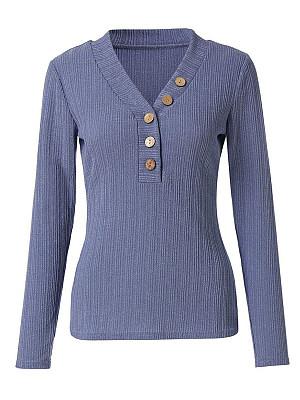 BERRYLOOK / V Neck Plain Long Sleeve T-Shirts