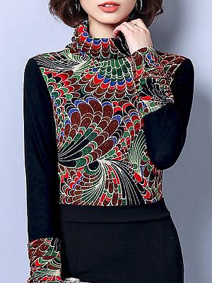 Heap Collar Elegant Colouring Long Sleeve T-Shirt, 9355579