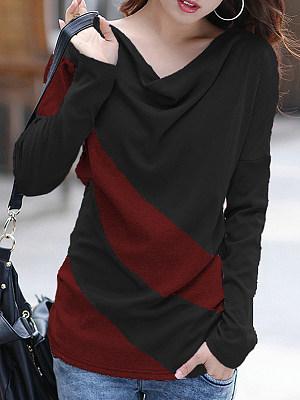 Heap Collar Casual Color Block Long Sleeve T-Shirt, 10022464