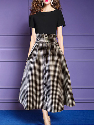 Round Neck Checkered Maxi Dress фото