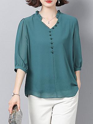 V Neck Patchwork Elegant Plain Three-Quarter Sleeve Blouse, 8353685