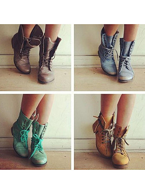 Plain Low Heeled Criss Cross Round Toe Casual Flat Boots фото