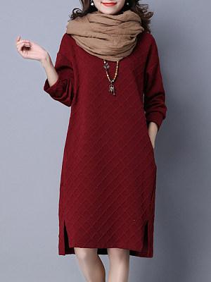 Round Neck Patch Pocket Side Slit Plain Shift Dress, 9518611