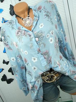 Autumn Spring Cotton Women V-Neck Decorative Button Floral Printed Long Sleeve Blouses
