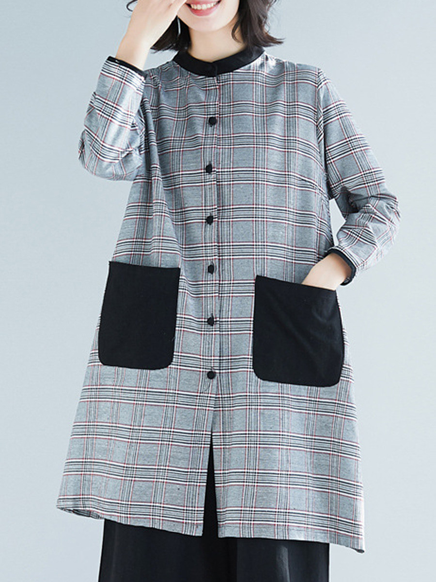 BerryLook Band Collar  Single Breasted  Checkered Trench Coat