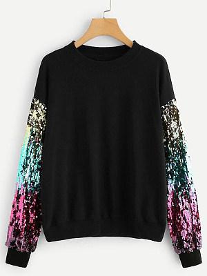 Round Neck  Patchwork Sequin Sweatshirt
