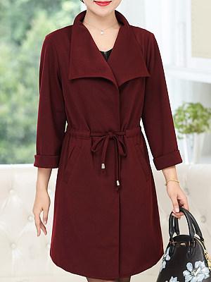 Fold-Over Collar Plain Long Sleeve Trench Coats