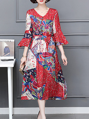 BERRYLOOK / V Neck  Print  Bell Sleeve Maxi Dress