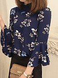 Band Collar Floral Printed Bell Sleeve Blouse