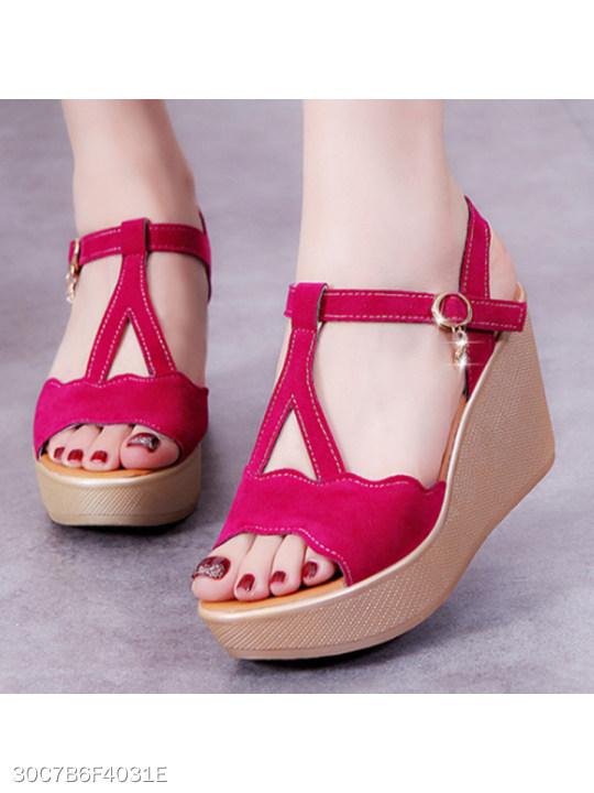 cddce43b6a42 Plain High Heeled Velvet Ankle Strap Peep Toe Date Office Wedge Sandals -  berrylook.com