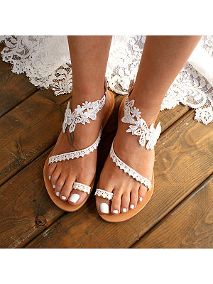 Lace Plain Flat Peep Toe Date Travel Flat Sandals, 7161774