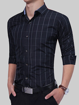 Polo Collar  Plaid Men Shirt