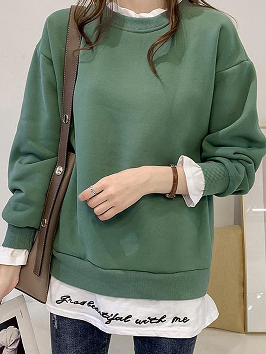 BerryLook Casual  Fake Two-Piece  Plain  Long Sleeve  Sweatshirt