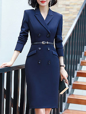 Fold-Over Collar Double Breasted Plain Bodycon Dress фото