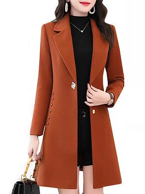 Notch Lapel  Plain Medium length Coat