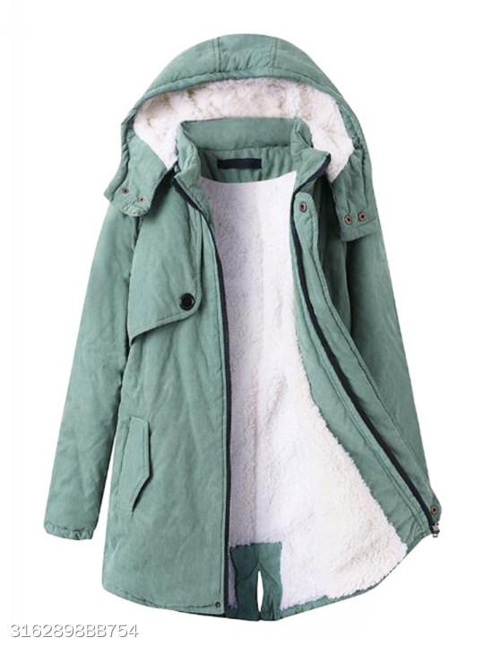 Hooded Flap Pocket Plain Fleece Lined Coat Berrylook Com