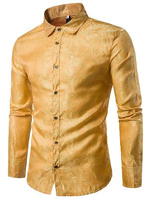 Turn Down Collar Paisley Jacquard Men Shirts фото