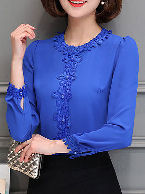 Autumn Spring Blend Women Round Neck Beading Decorative Lace Plain Long Sleeve Blouses
