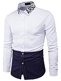 Image of Color Block Letters Turn Down Collar Men Shirts