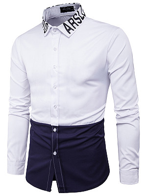 Color Block Letters Turn Down Collar Men Shirts фото