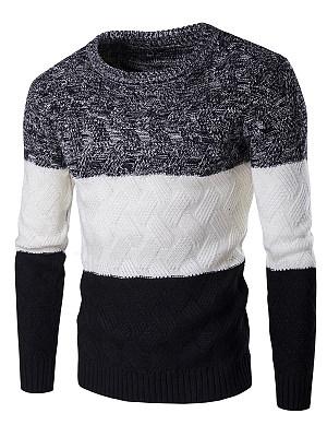 Round Neck Color Block Embossed Men'S Sweater