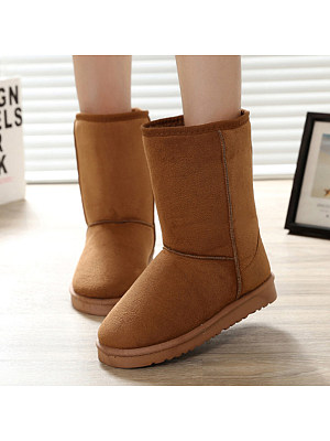 Plain Flat Velvet Round Toe Casual Mid Calf Flat Boots, 5749234