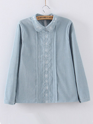 Turn Down Collar Embroidered Embroidery Blouses