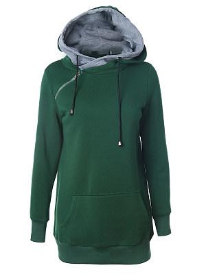 Hooded Zipper Plain Hoodie