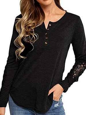 Round Neck Patchwork Elegant Lace Long Sleeve T-Shirts, 8099297