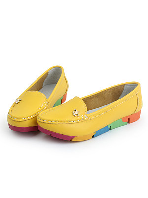 Plain Low Heeled Faux Leather Point Toe Casual Flat & Loafers фото