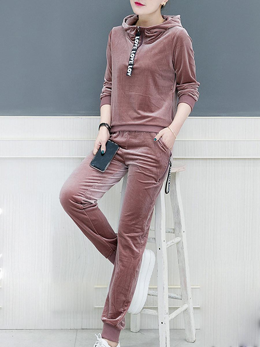 BerryLook Active  Plain  Long Sleeve Hoodie Suit