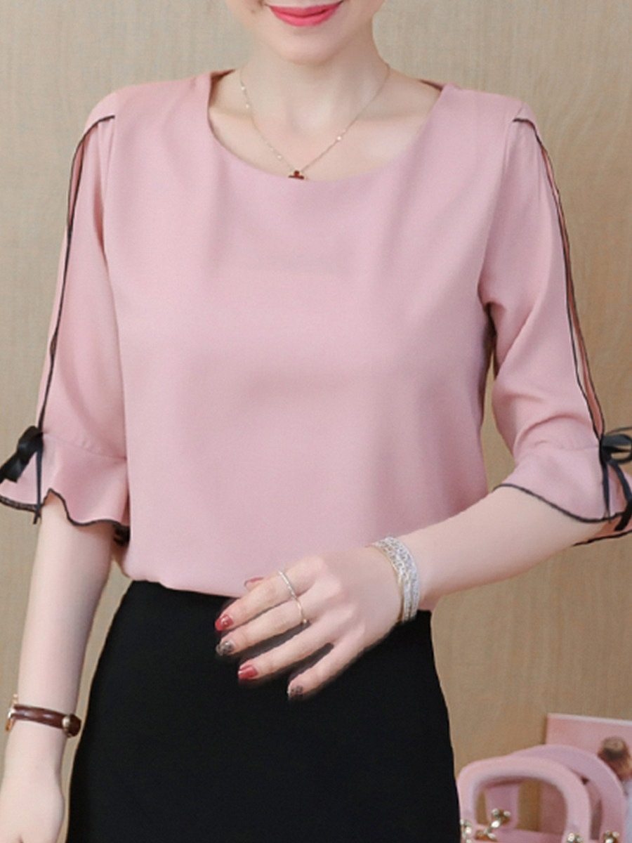 Round Neck Patchwork Plain Bell Sleeve Blouses