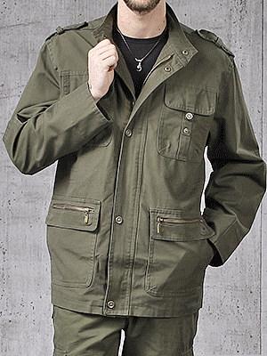 High Neck  Flap Pocket  Plain Men Coat