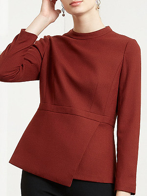 Round Neck Patchwork Formal Plain Long Sleeve Blouse, 9749779