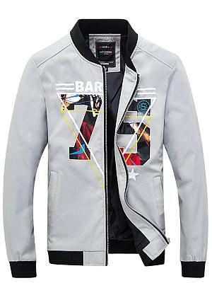 Band Collar Pocket Number Printed Men Jacket