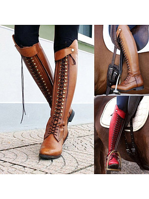 Plain Flat Round Toe Date Outdoor Knee High Flat Boots фото