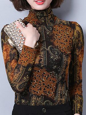 Heap Collar Elegant Printed Long Sleeve T-Shirt, 9894190